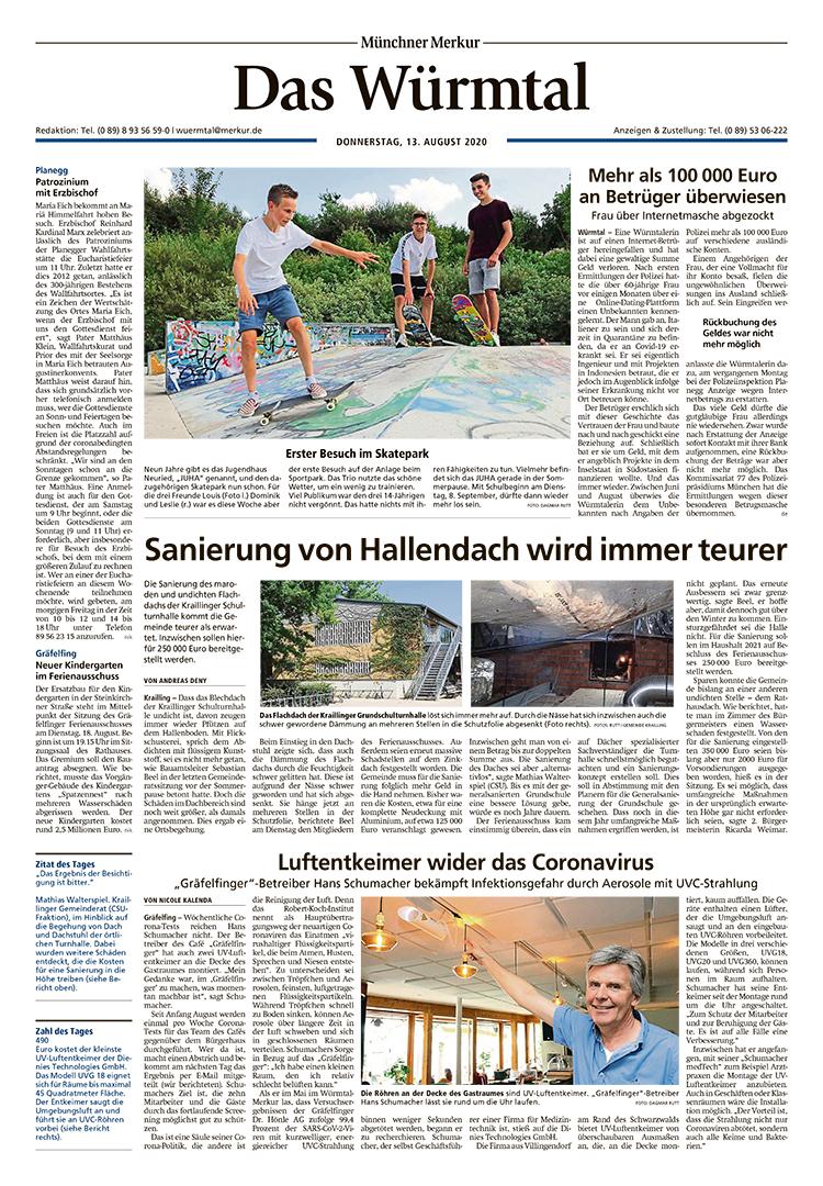 Münchner Merkur - Das Würmtal, 13.11.2020 | Luftentkeimer wider das Coronavirus